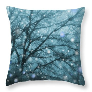 Winter Evening Snowfall Throw Pillow
