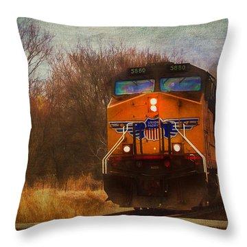 Winter Evening Union Pacific Train Throw Pillow