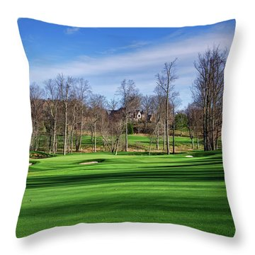 Winter Fairway Shadows Throw Pillow