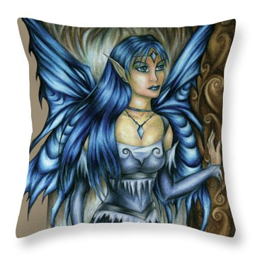 Winter Fairy Drawing Throw Pillow