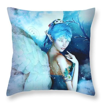 Winter Fairy In The Mist Throw Pillow