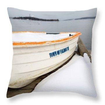 Throw Pillow featuring the photograph Winter, Falmouth, Maine  -18674 by John Bald