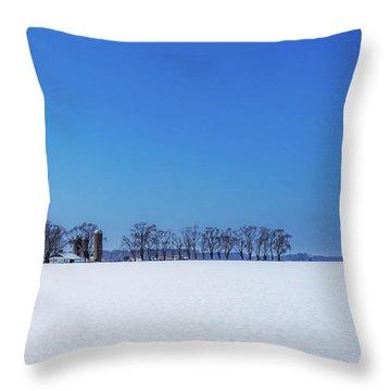 Throw Pillow featuring the photograph Winter Farm Blue Sky by Louis Dallara