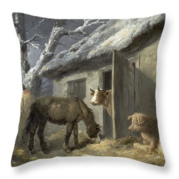 Winter Farmyard Throw Pillow by George Morland