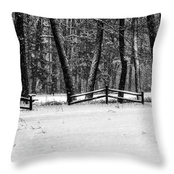 Winter Fences In Black And White  Throw Pillow