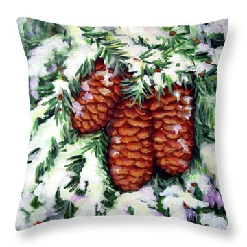 Winter Fir Cones Throw Pillow by Inese Poga