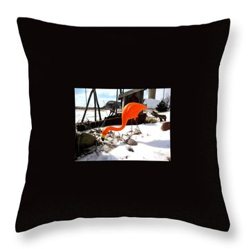 Winter Flamingo Throw Pillow by Jan VonBokel