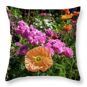 Winter Flowers Throw Pillow by Gwyn Newcombe