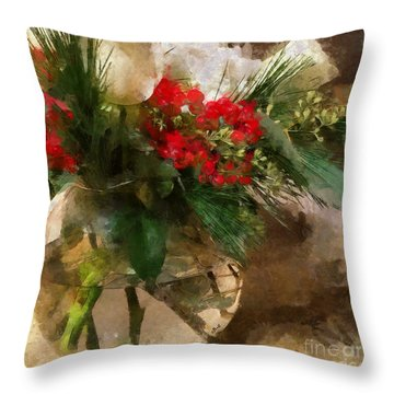Winter Flowers In Glass Vase Throw Pillow