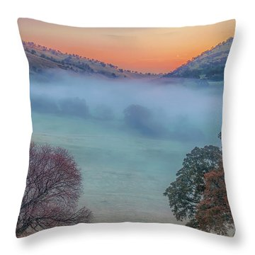 Winter Fog At Sunrise Throw Pillow
