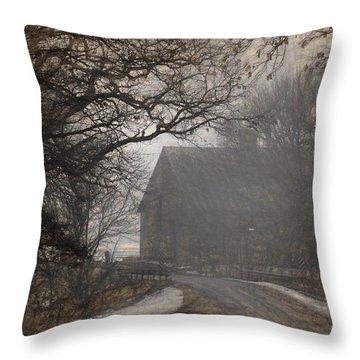 Winter Foggy Countryside Road And Barn Throw Pillow