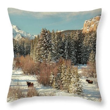 Wyoming Winter Throw Pillow