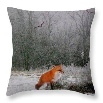Winter Fox Throw Pillow