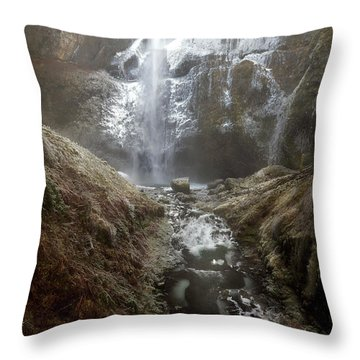 Winter Freeze At Multnomah Falls Throw Pillow by David Gn