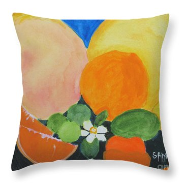 Winter Fruit Throw Pillow by Sandy McIntire