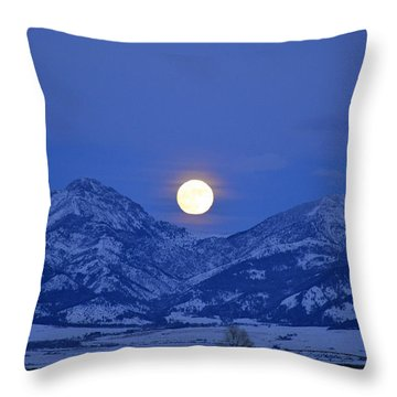 Winter Full Moon Over The Rockies Throw Pillow