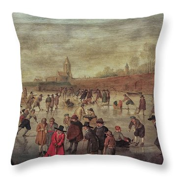 Throw Pillow featuring the photograph Winter Fun Painting By Barend Avercamp by Patricia Hofmeester