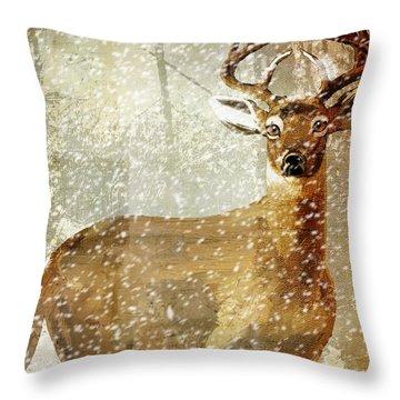 Winter Game Deer Throw Pillow