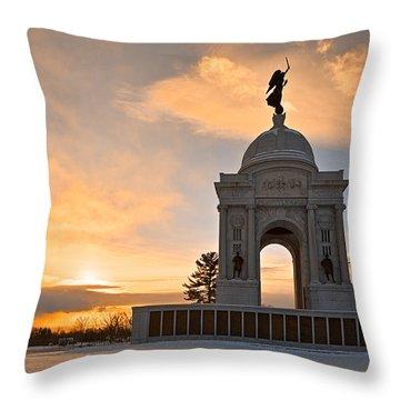 Winter Gettysburg Sunrise Throw Pillow by Nicolas Raymond