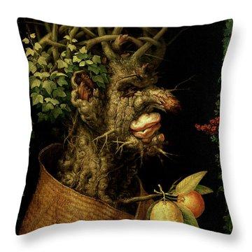 Winter Throw Pillow by Giuseppe Arcimboldo