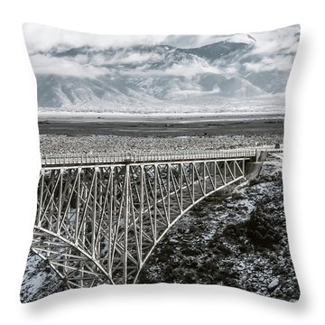 Throw Pillow featuring the photograph Winter Gorge Bridge  by Britt Runyon