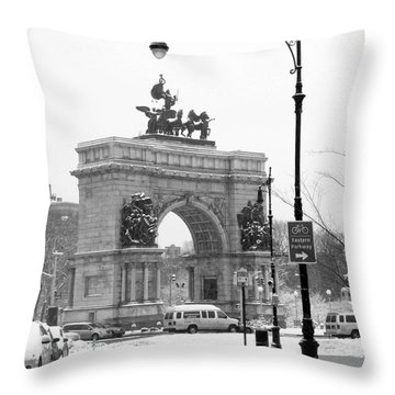 Winter Grand Army Plaza Throw Pillow by Mark Gilman