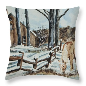 Winter Grazing  Throw Pillow by Charlotte Blanchard