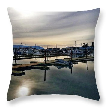 Throw Pillow featuring the photograph Winter Harbor Revisited #mobilephotography by Chriss Pagani