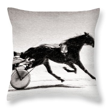 Winter Harness Racing Throw Pillow