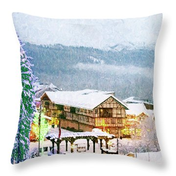 Winter Holiday In The Village Throw Pillow