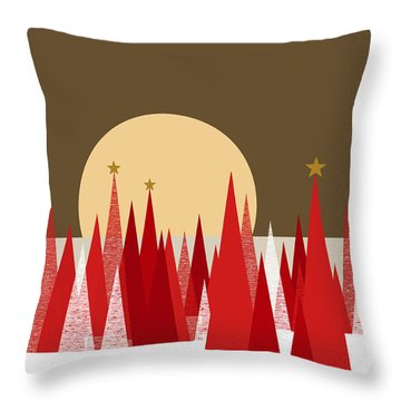 Winter Holiday Stars Throw Pillow by Val Arie
