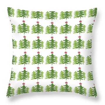 Winter Holiday Trees 1-  Art By Linda Woods Throw Pillow