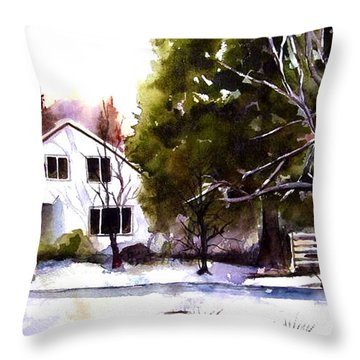 Throw Pillow featuring the painting Winter Homestead by Marti Green