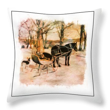 Winter Horse Sled Throw Pillow