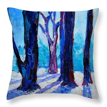 Throw Pillow featuring the painting Winter Impression by Ana Maria Edulescu
