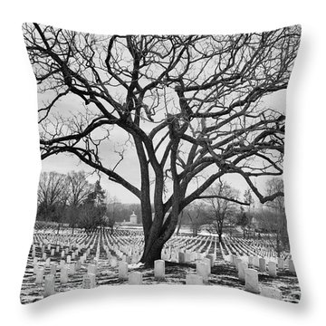 Throw Pillow featuring the photograph Winter In Arlington National Cemetery by John S