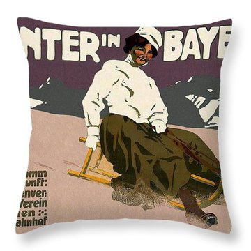 Winter In Bayern - Bavaria, Germany - Woman Seated On Sled - Retro Travel Poster - Vintage Poster Throw Pillow