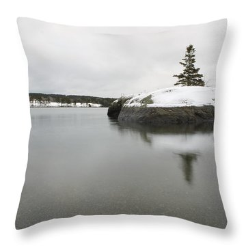 Winter In Blue Hill Throw Pillow by Greg DeBeck