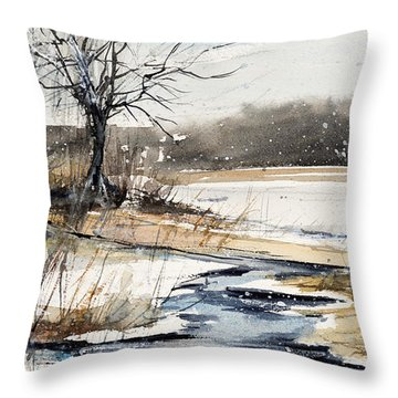 Winter In Caz Throw Pillow by Judith Levins
