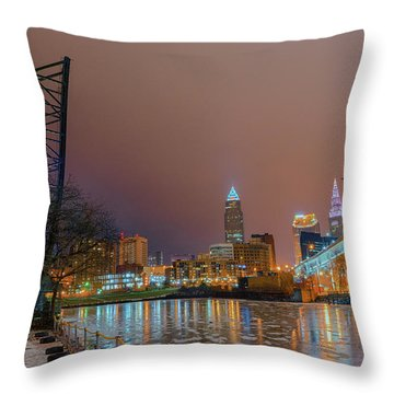 Winter In Cleveland, Ohio  Throw Pillow