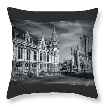 Winter In Ghent Belgium Black And White  Throw Pillow