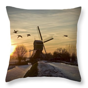 Winter In Holland-2 Throw Pillow