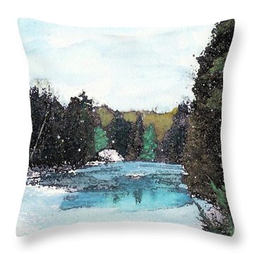 Throw Pillow featuring the mixed media Winter In Kalkaska by Desiree Paquette
