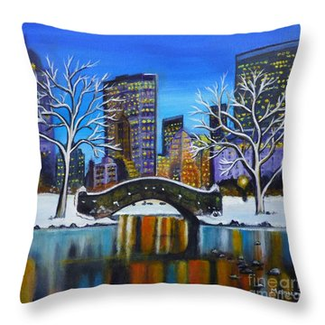Winter In New York- Night Landscape Throw Pillow