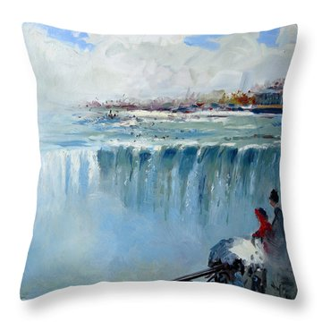 Winter In Niagara Falls Throw Pillow