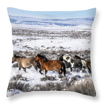 Winter In Sand Wash Basin - Wild Mustangs On The Run Throw Pillow