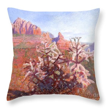 Throw Pillow featuring the painting Winter In Sedona, Arizona by Nancy Lee Moran
