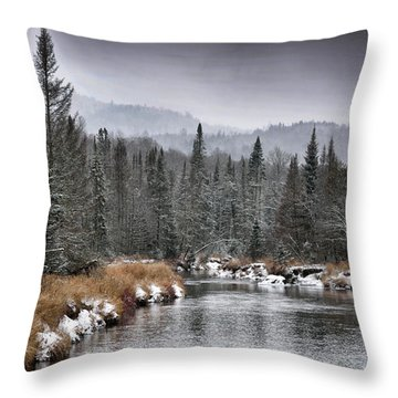 Throw Pillow featuring the photograph Winter In The Adirondack Mountains - New York by Brendan Reals