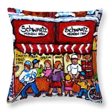Winter In The City Street Hockey Family Fun Schwartz Deli Rue St Laurent Quebec Artist C Spandau     Throw Pillow