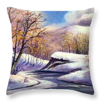 Throw Pillow featuring the painting Winter In The Garden Of Eden by Randol Burns